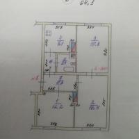 3-к квартира, 64.00 м², 2/2 этаж